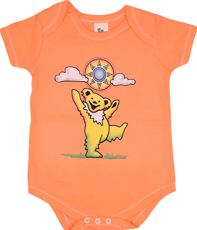 Grateful Dead Sunny Bear Orange Onesie