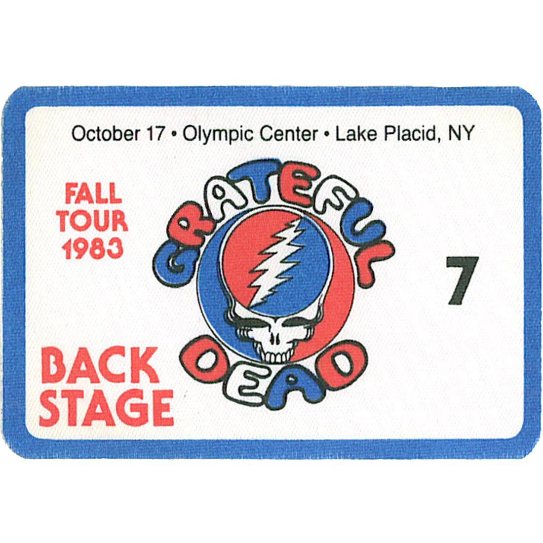 Grateful Dead 1983 10-17 Backstage Pass