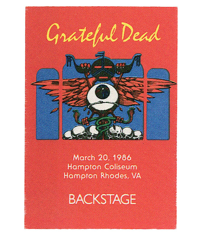 GRATEFUL DEAD 1986 03-20 BACKSTAGE PASS