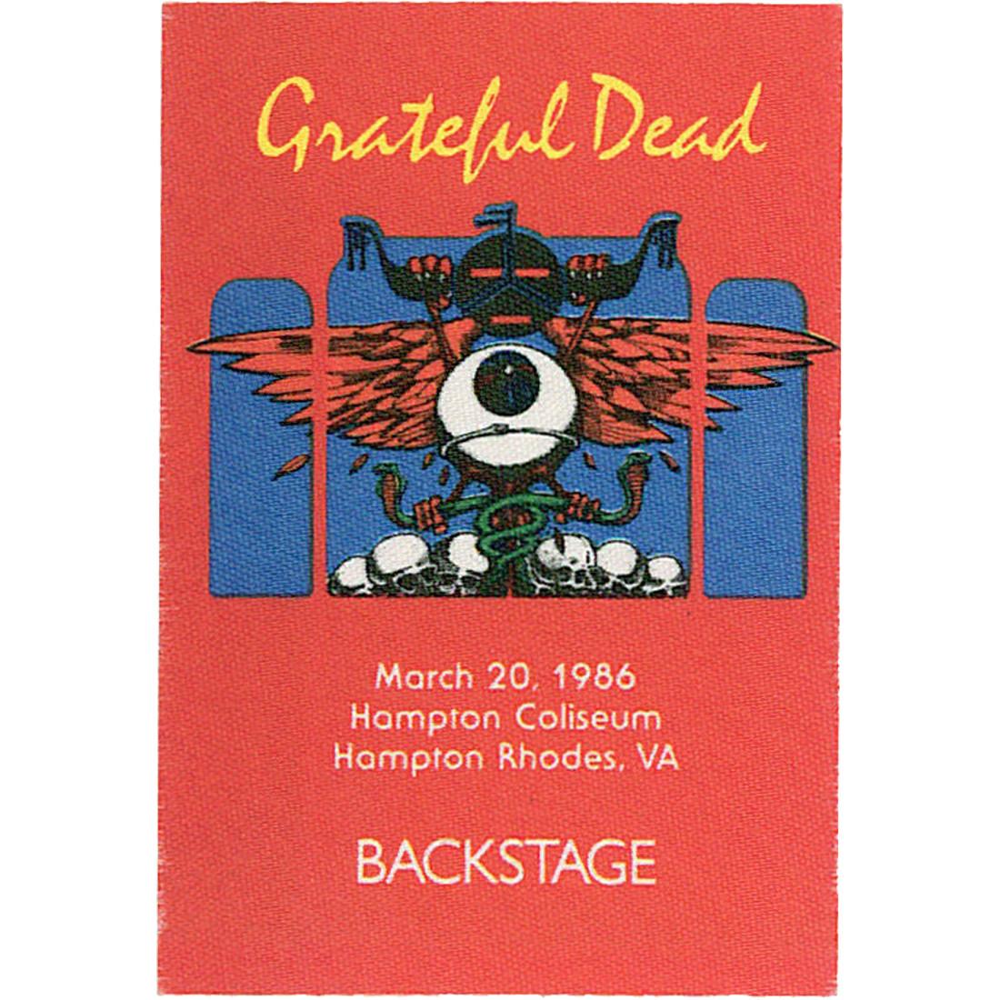 Grateful Dead 1986 03-20 Backstage Pass