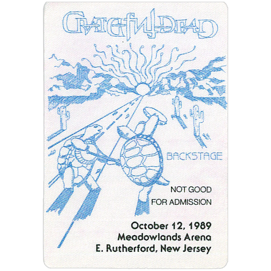 Grateful Dead 1989 10-12 Backstage Pass