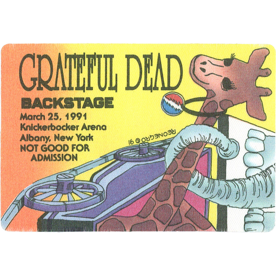 Grateful Dead 1991 03-25 Backstage Pass