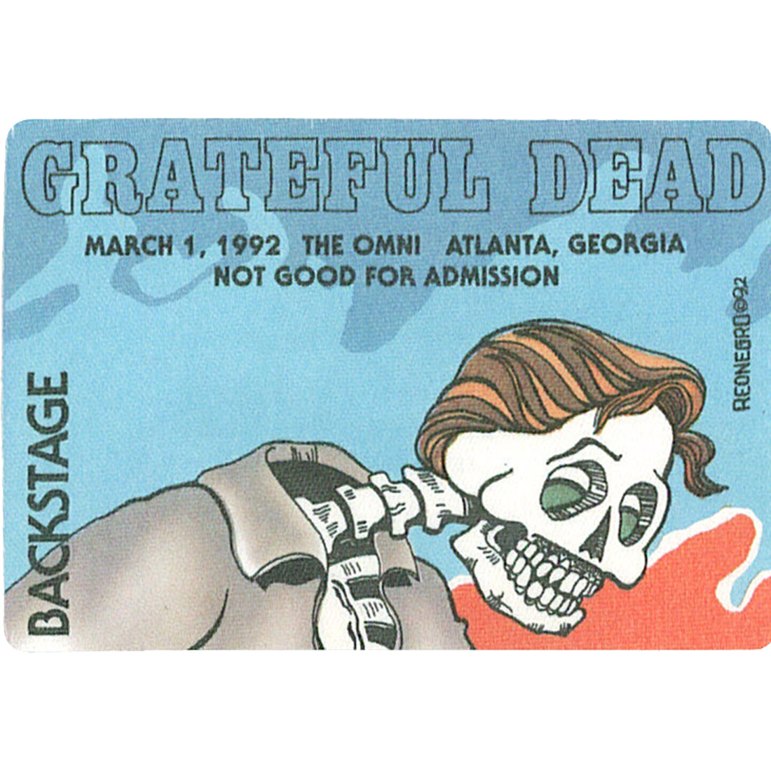 Grateful Dead 1992 03-01 Backstage Pass