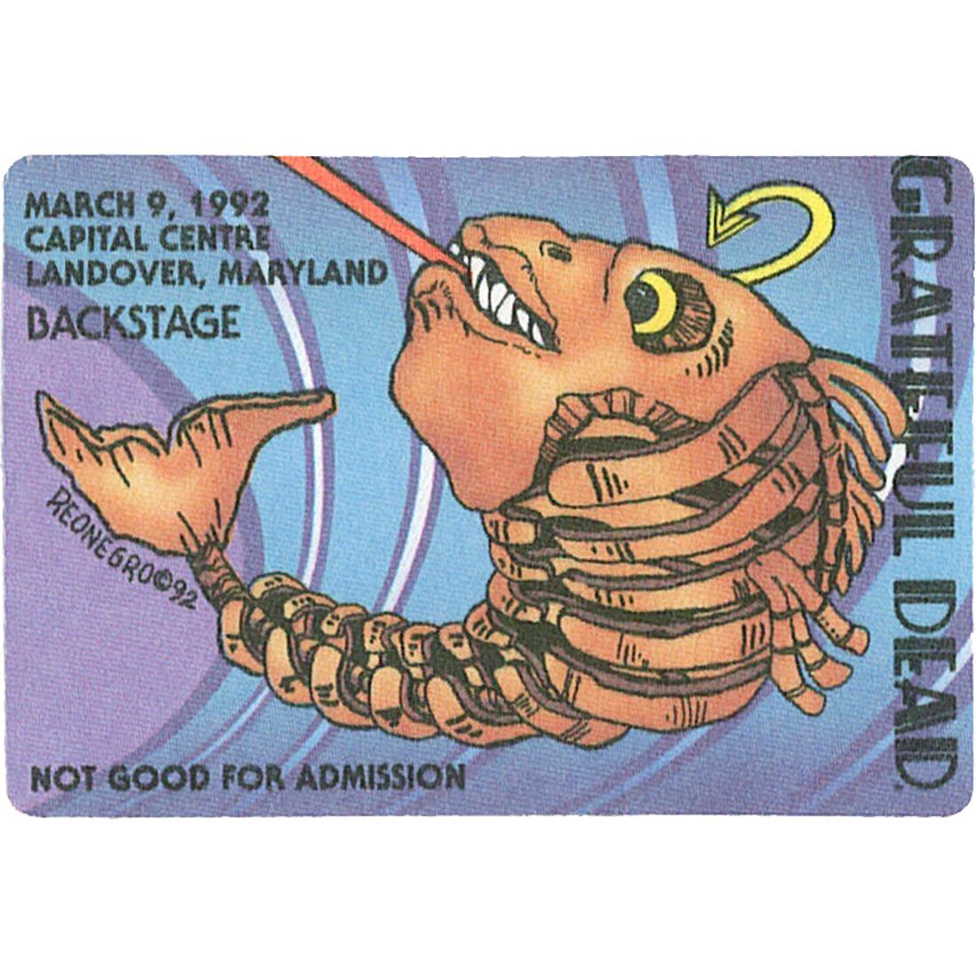 Grateful Dead 1992 03-09 Backstage Pass