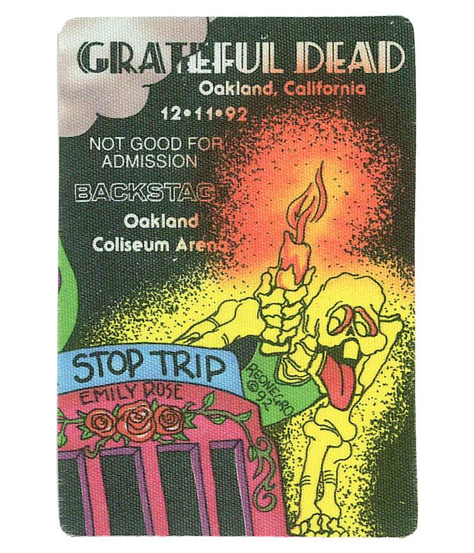 Grateful Dead 1992 12-11 Backstage Pass