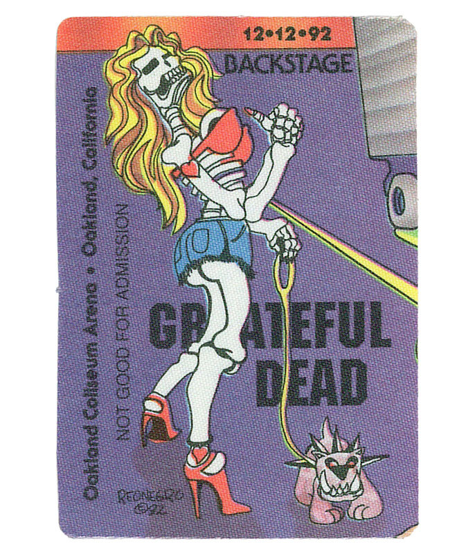 GRATEFUL DEAD 1992 12-12 BACKSTAGE PASS