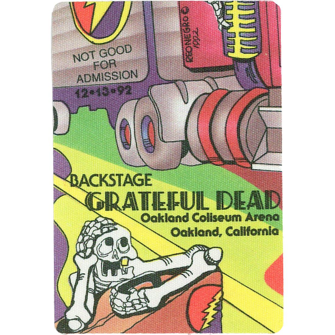 Grateful Dead 1992 12-13 Backstage Pass
