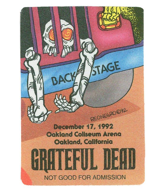GRATEFUL DEAD 1992 12-17 BACKSTAGE PASS