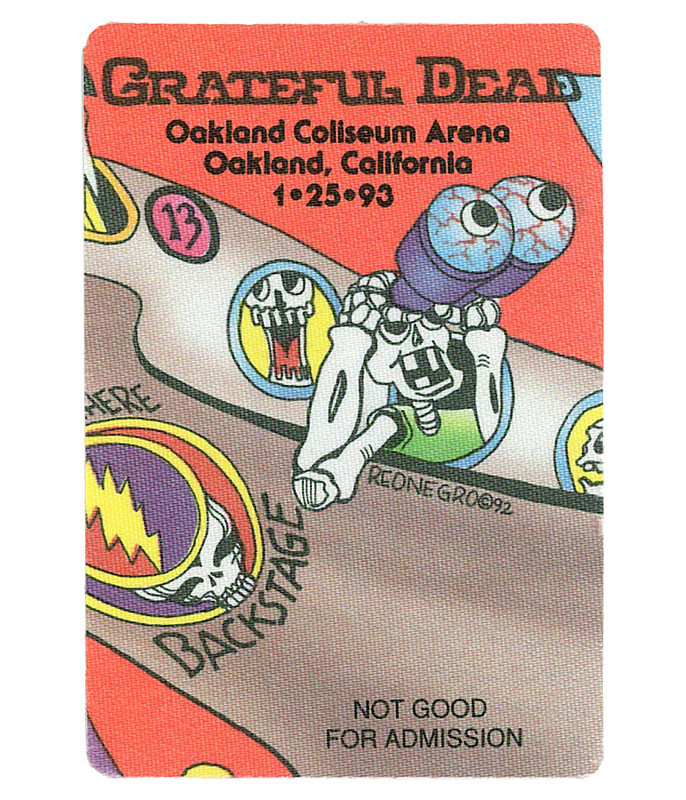 GRATEFUL DEAD 1993 01-25 BACKSTAGE PASS