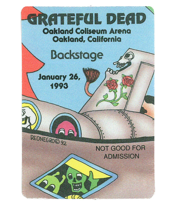 GRATEFUL DEAD 1993 01-26 BACKSTAGE PASS
