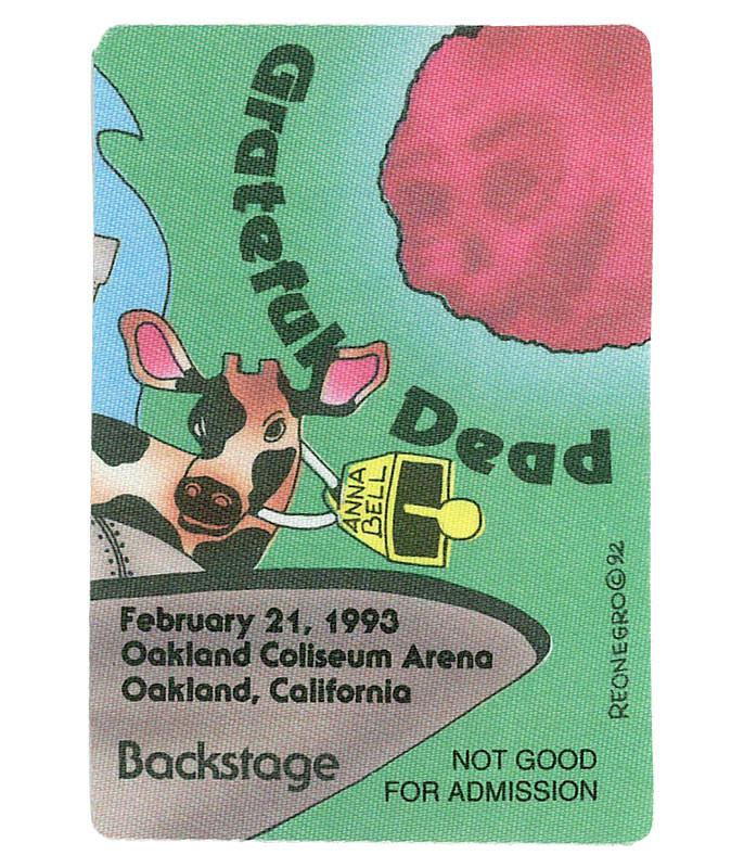 GRATEFUL DEAD 1993 02-21 BACKSTAGE PASS