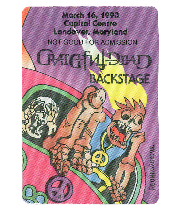 GRATEFUL DEAD 1993 03-16 BACKSTAGE PASS