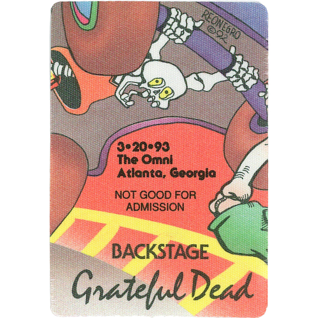 Grateful Dead 1993 03-20 Backstage Pass