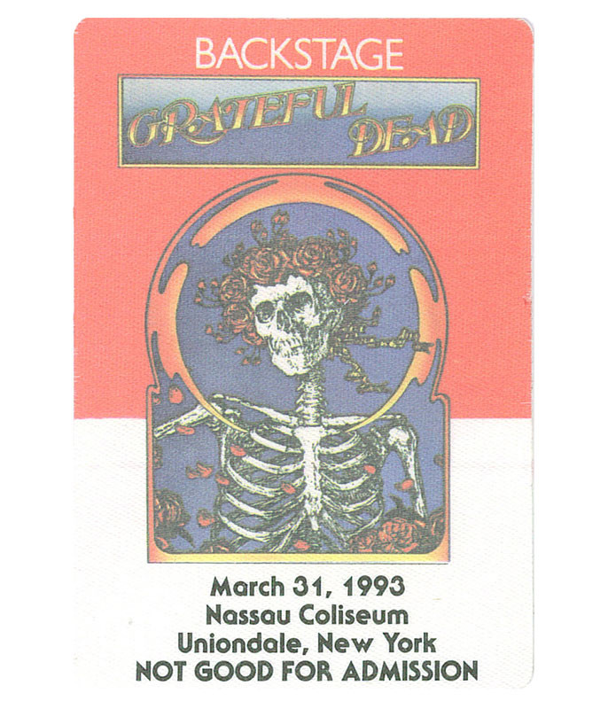 Grateful Dead 1993 03-31 Backstage Pass