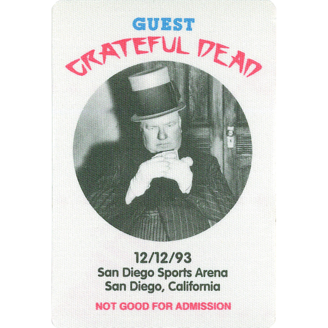Grateful Dead 1993 12-12 Backstage Pass