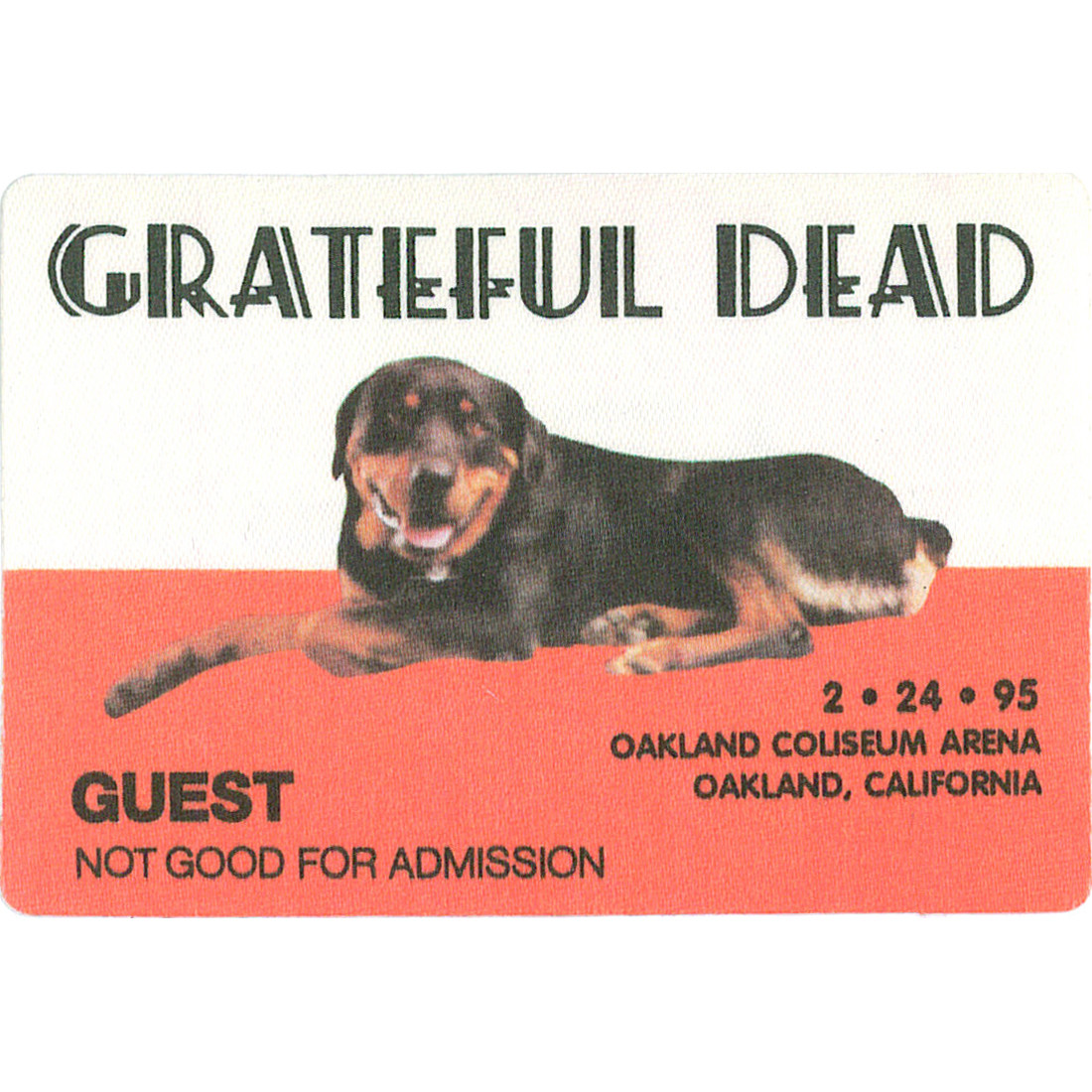 Grateful Dead 1995 02-24 Backstage Pass