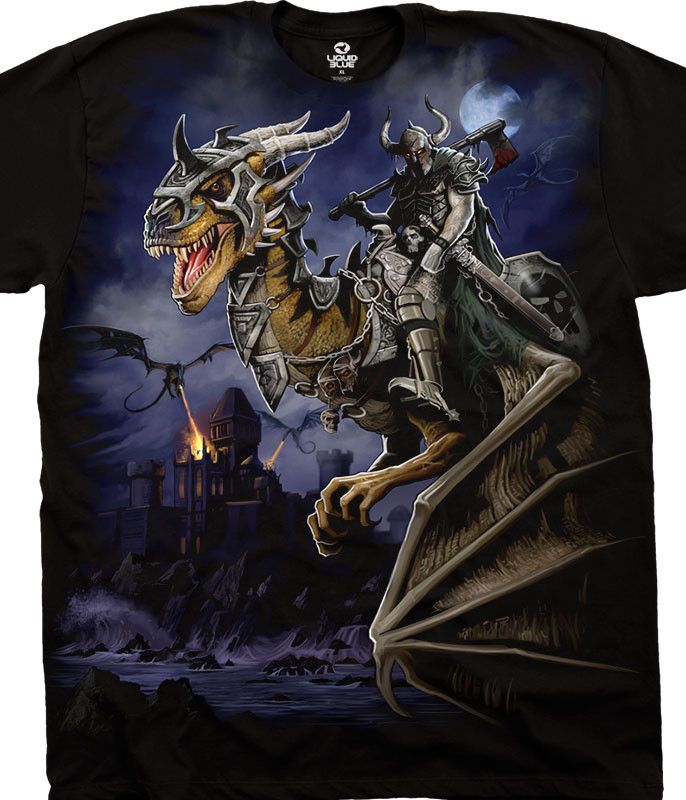 Dark Fantasy Dragon Master Black T-Shirt Tee Liquid Blue