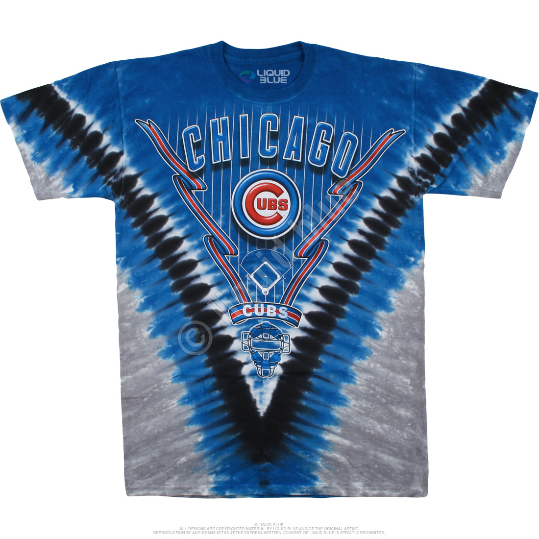 MLB Chicago Cubs V Tie-Dye T-Shirt Tee Liquid Blue 03d6d9817241