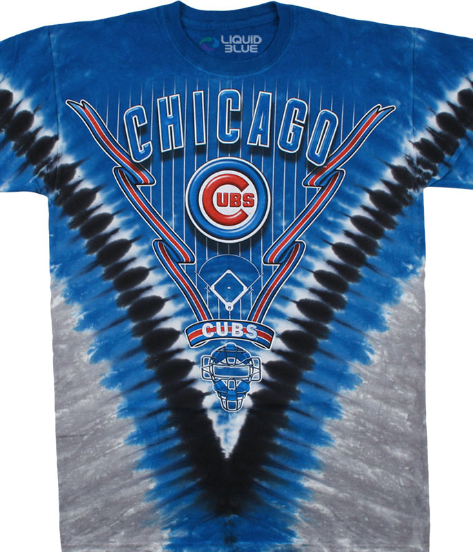 MLB Chicago Cubs V Tie-Dye T-Shirt Tee Liquid Blue