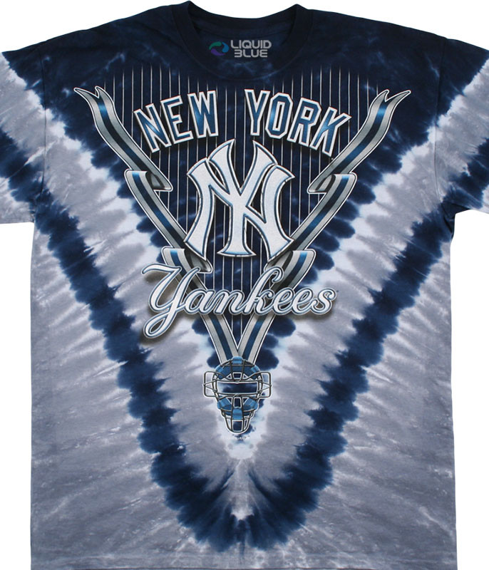 MLB New York Yankees V Tie-Dye T-Shirt Tee Liquid Blue