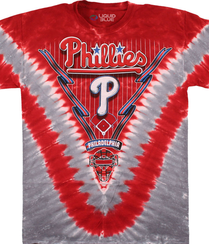 MLB Philadelphia Phillies V Tie-Dye T-Shirt Tee Liquid Blue