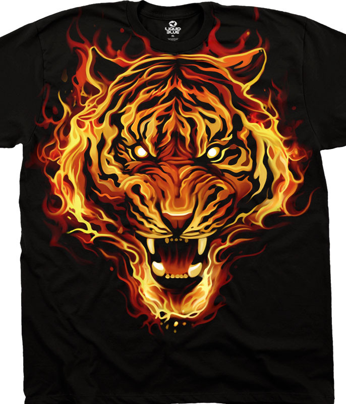 Dark Fantasy Fire Tiger Black T-Shirt Tee Liquid Blue
