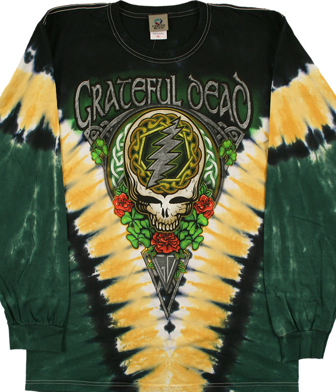 Grateful Dead GD Shamrock V Tie-Dye Long Sleeve T-Shirt Tee Liquid Blue