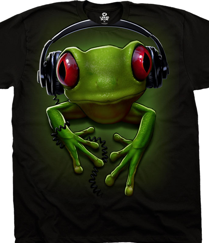 Musica Frog Rock Black T-Shirt Tee Liquid Blue