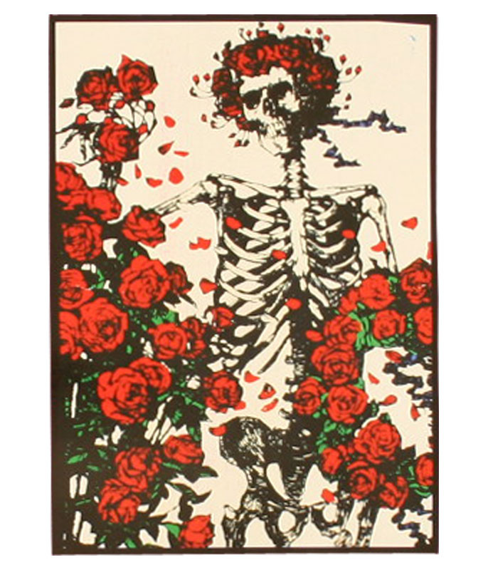 Skeleton And Roses Tapestry