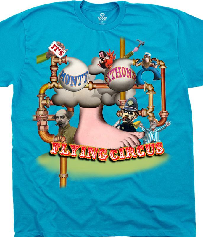 Monty Python Flying Circus Foot Light Blue T-Shirt Tee Liquid Blue