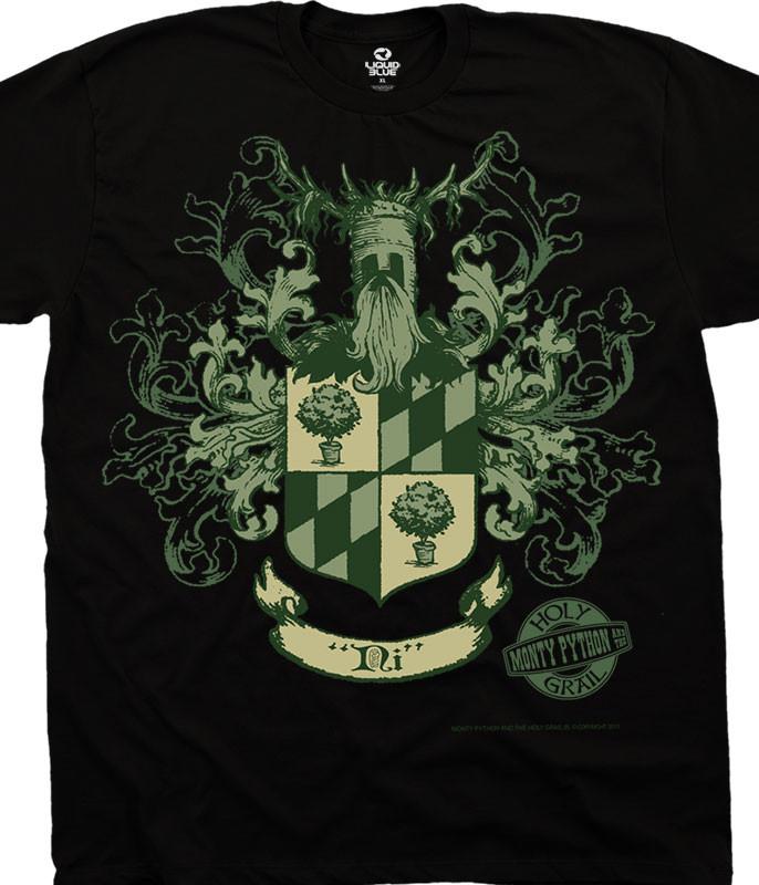Monty Python Knights Of Ni Crest Black T-Shirt Tee Liquid Blue
