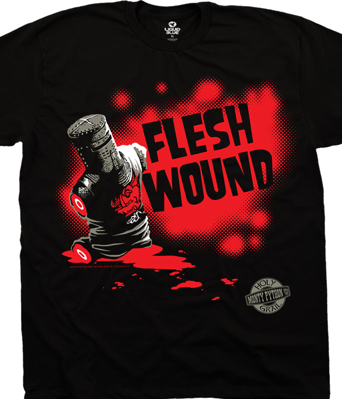 Monty Python Flesh Wound Black T-Shirt Tee Liquid Blue