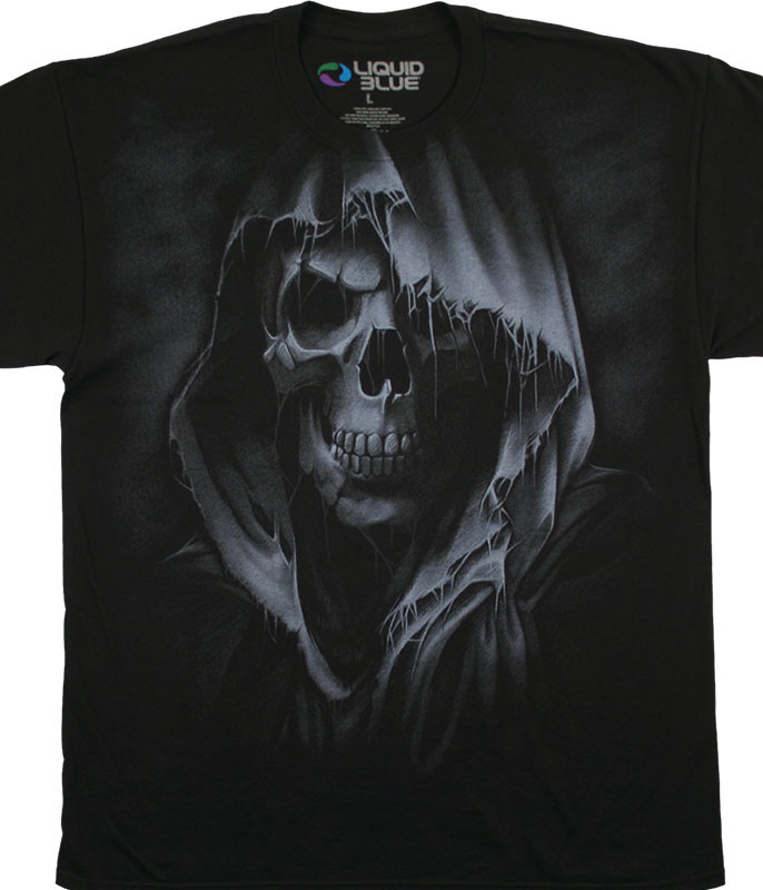 Dark Fantasy The Reaper Black T-Shirt Tee Liquid Blue