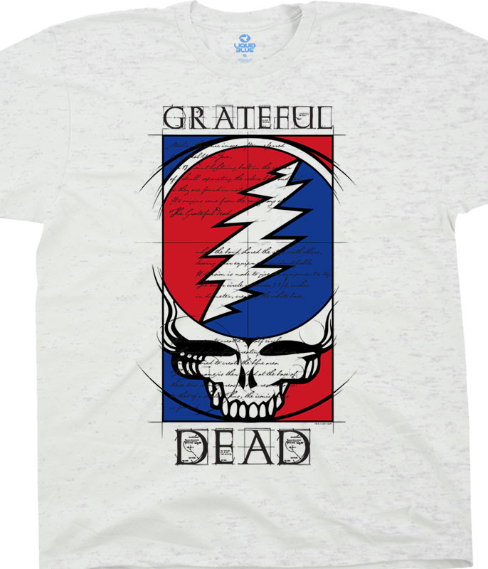 Grateful Dead Steal Your Blueprint Ash T-Shirt Tee Liquid Blue