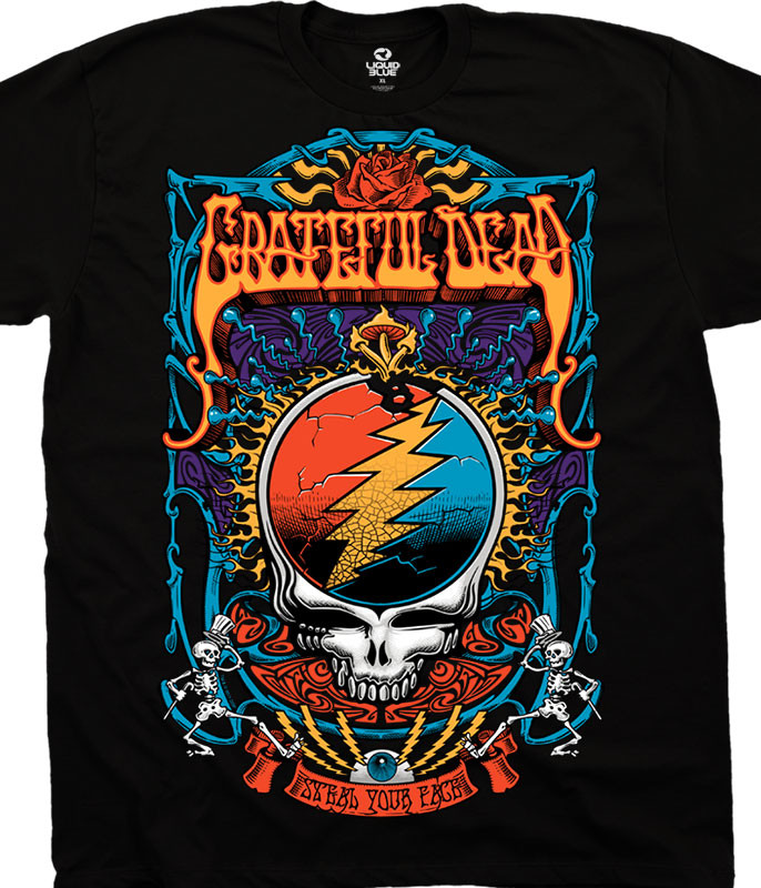 Grateful Dead Steal Your Trippy Black T-Shirt Tee Liquid Blue