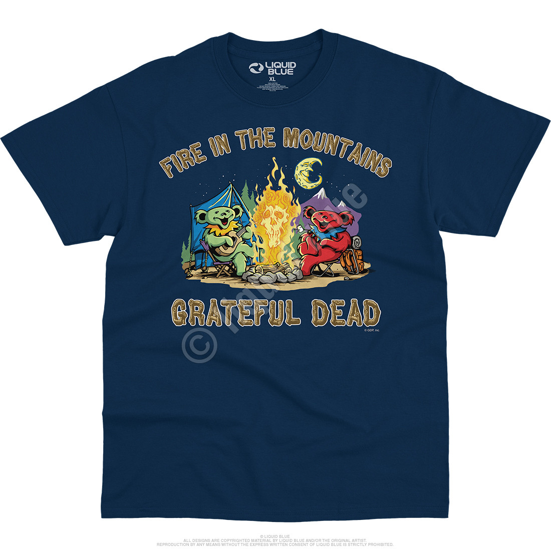 Fire In The Mountain Navy T-Shirt