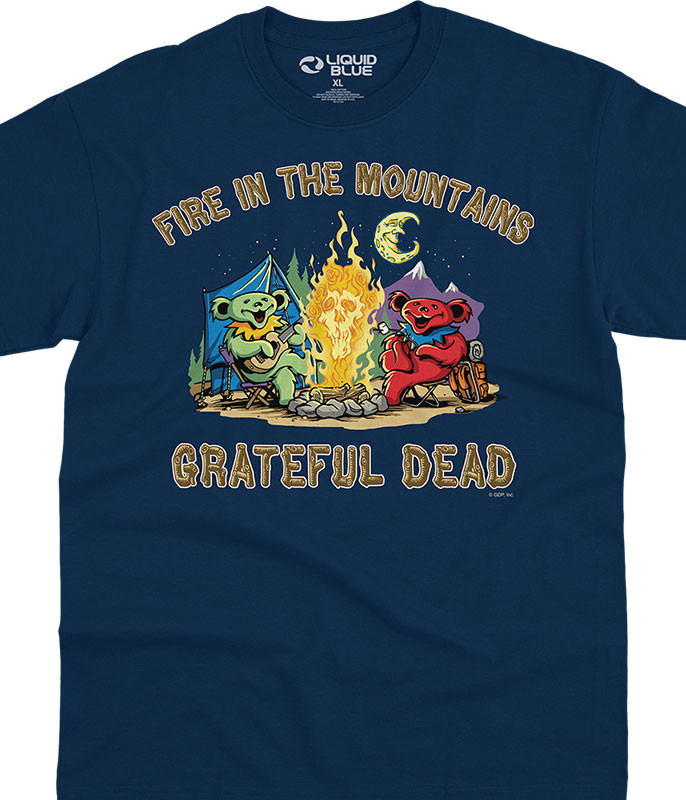Grateful Dead Fire In The Mountain Navy T-Shirt Tee Liquid Blue