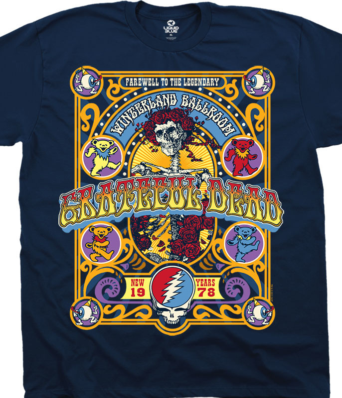 Grateful Dead Closing Of Winterland Navy T-Shirt Tee Liquid Blue