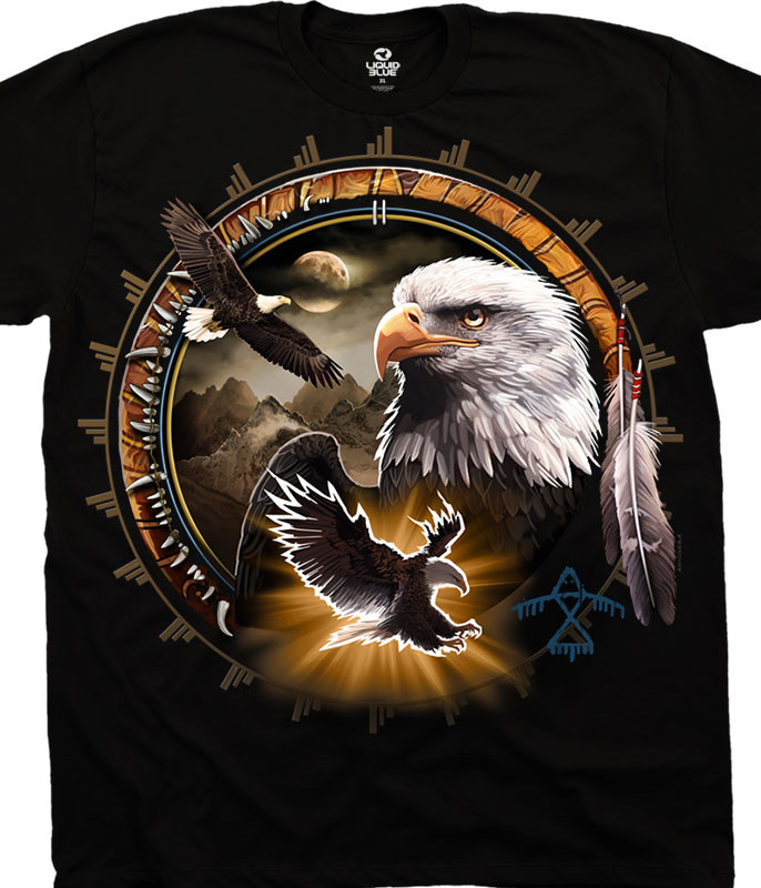 American Wildlife Eagle Dreamcatcher Black T-Shirt Tee Liquid Blue