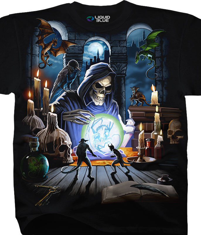 Dark Fantasy Reaper Spell Black T-Shirt Tee Liquid Blue