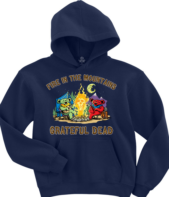 Grateful Dead Fire In The Mountain Navy Hoodie Liquid Blue