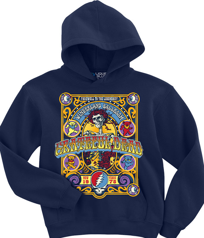 Grateful Dead Closing Of Winterland Navy Hoodie Liquid Blue
