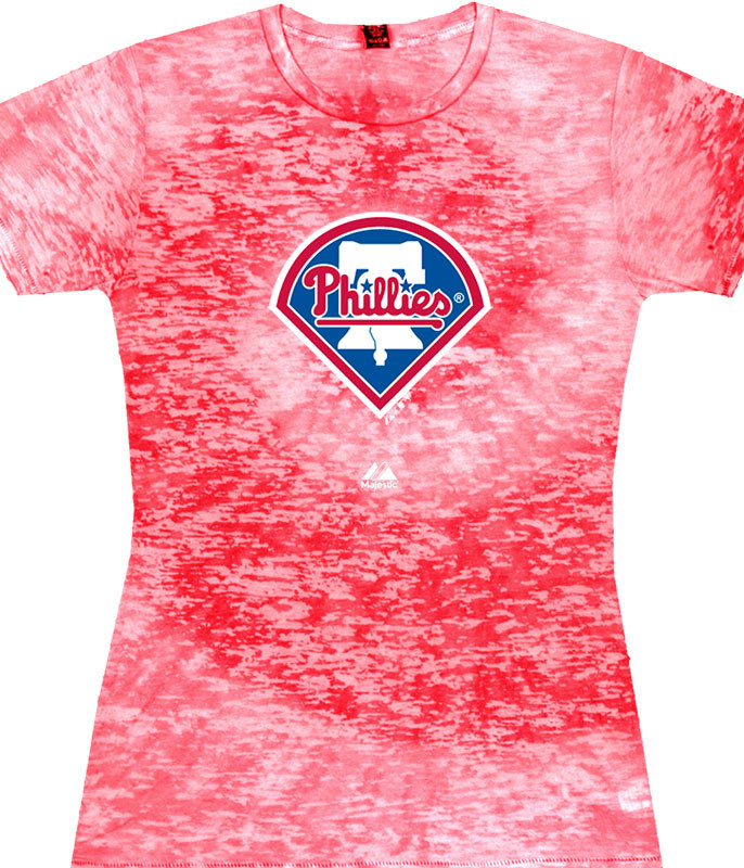 MLB Philadelphia Phillies Burnout Tie-Dye Juniors Long Length T-Shirt Tee Liquid Blue