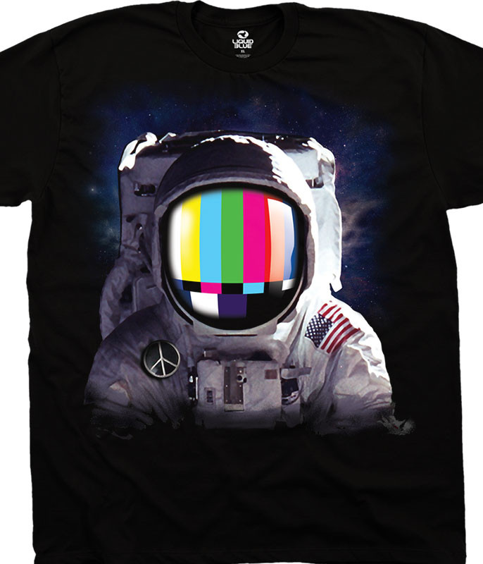 Americana Space Station Black T-Shirt Tee Liquid Blue