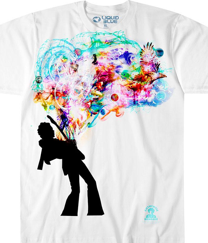 Jimi Hendrix Soul Explosion White T-Shirt Tee Liquid Blue