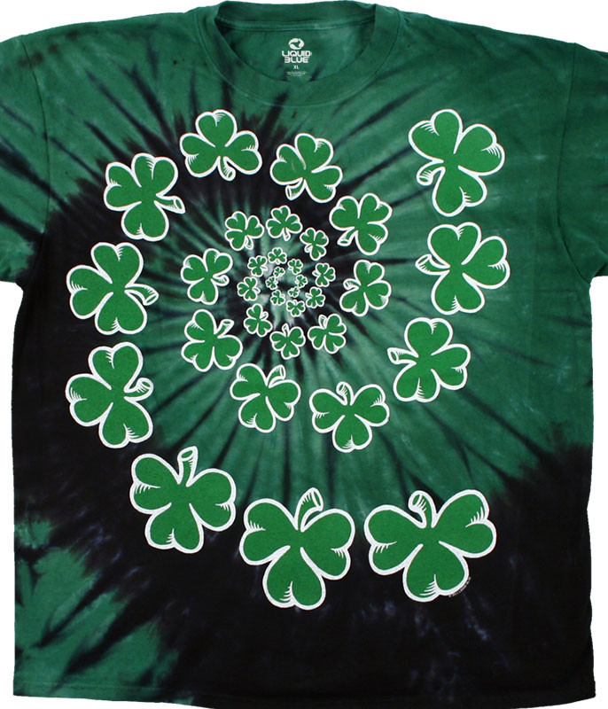 St. Patricks Day Shamrock Spiral Tie-Dye T-Shirt Tee Liquid Blue
