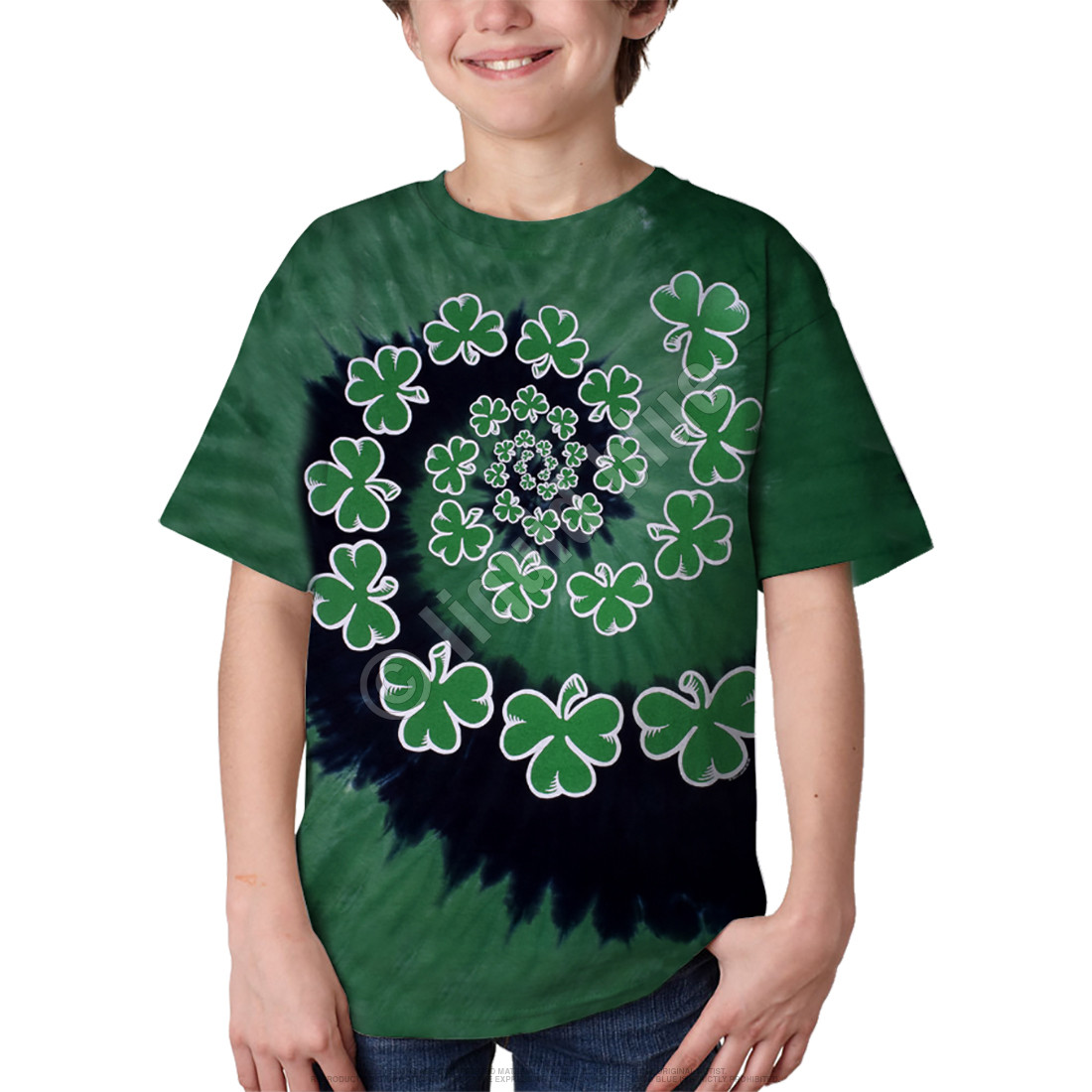 Shamrock Spiral Youth Tie-Dye T-Shirt