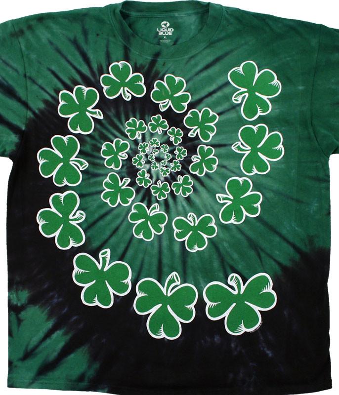 St. Patricks Day Shamrock Spiral Youth Tie-Dye T-Shirt Tee Liquid Blue