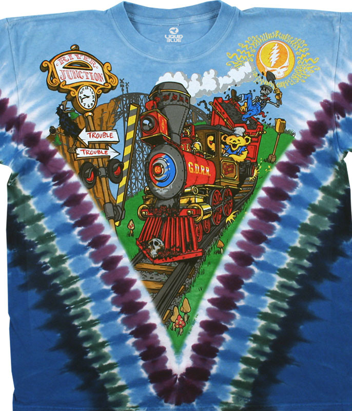 Grateful Dead Casey Jones Tie-Dye T-Shirt Tee Liquid Blue