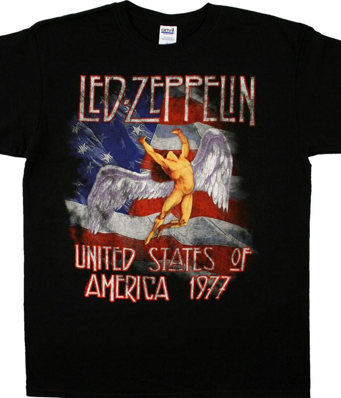 Led Zeppelin America 1977 Black T-Shirt